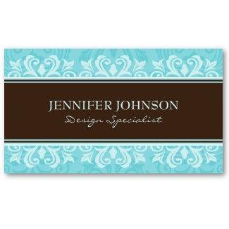 Elegant Damask Profile Cards In Chocolate Brown And Aqua Damask Elegant Business Cards Cards