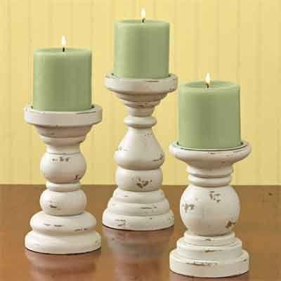 Southport Short Pillar Holders Aged Cream Set Of 3