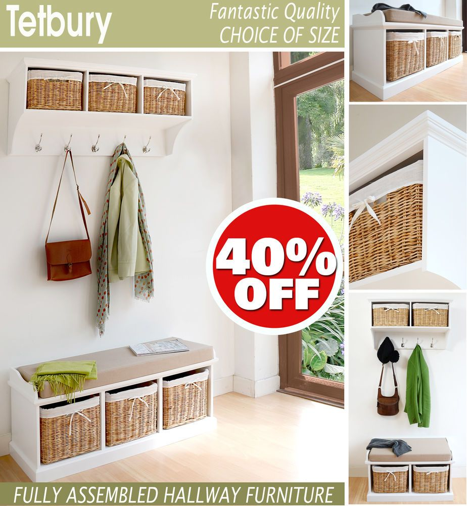 Tetbury White Hallway Shelf With Baskets Hooks Storage Benchavailable