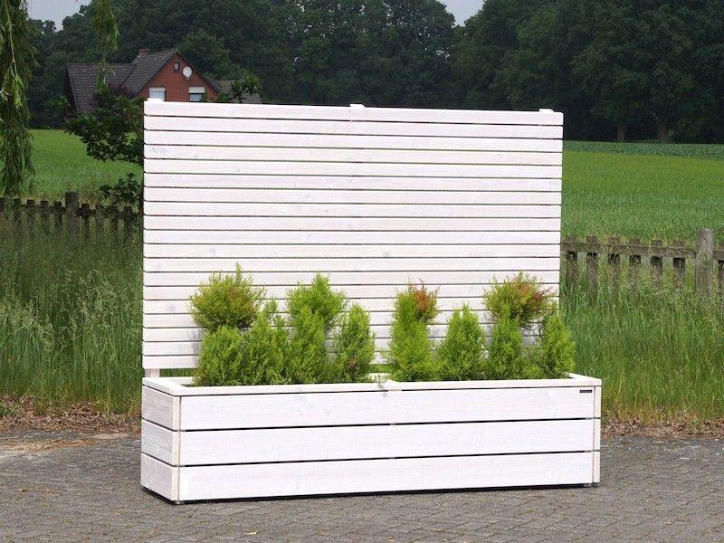 Pflanzkasten Holz Lang L mit Sichtschutz, Oberfläche: Weiss ...