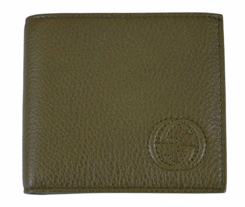 389e341b796 NEW Gucci Men s 322115 Olive Green Pebbled Leather Interlocking GG Bifold  Wallet
