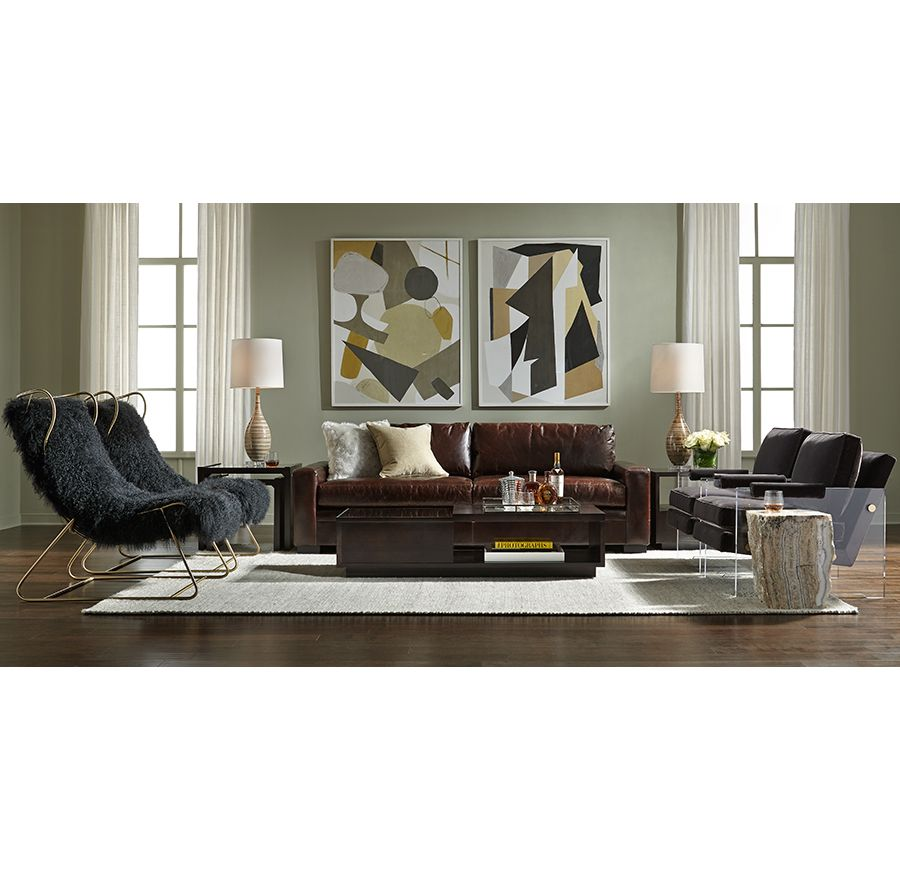 bobs living room sets%0A CONRAD LEATHER SOFA   Mitchell Gold   Bob Williams