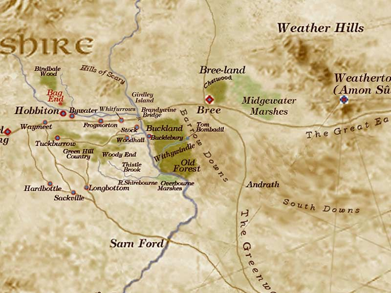 shire middle earth map