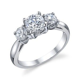 TWO by LONDON Traditional Three Stone Semi Mount Engagement Ring. 14k White Gold Semi Mount With Two Round Brilliant Side Stones. Total Diamond Weight 0.52cts. Also Available in 18K White Gold. Center Stone is Sold Separately