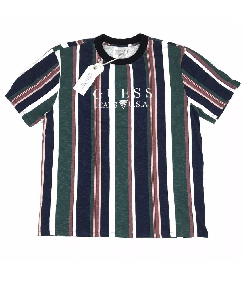 GUESS Jeans USA 1981 Capsule Striped t shirt ASAP Vintage Vertical