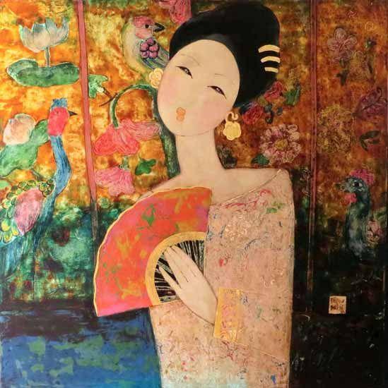 Artist Dang Hien Vietnamese 1982 Born In Ha Noi Vietnam Medium Vietnamese Lacquer Painting On Wood Girl And Ancient