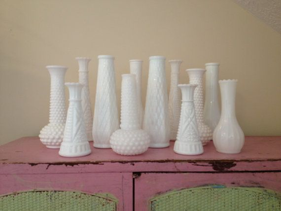 Vintage White Milk Glass Vases Beautiful Instant Collection