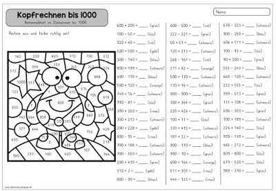 ideenreise rechenmalblatt kopfrechnen bis 1000 schule. Black Bedroom Furniture Sets. Home Design Ideas