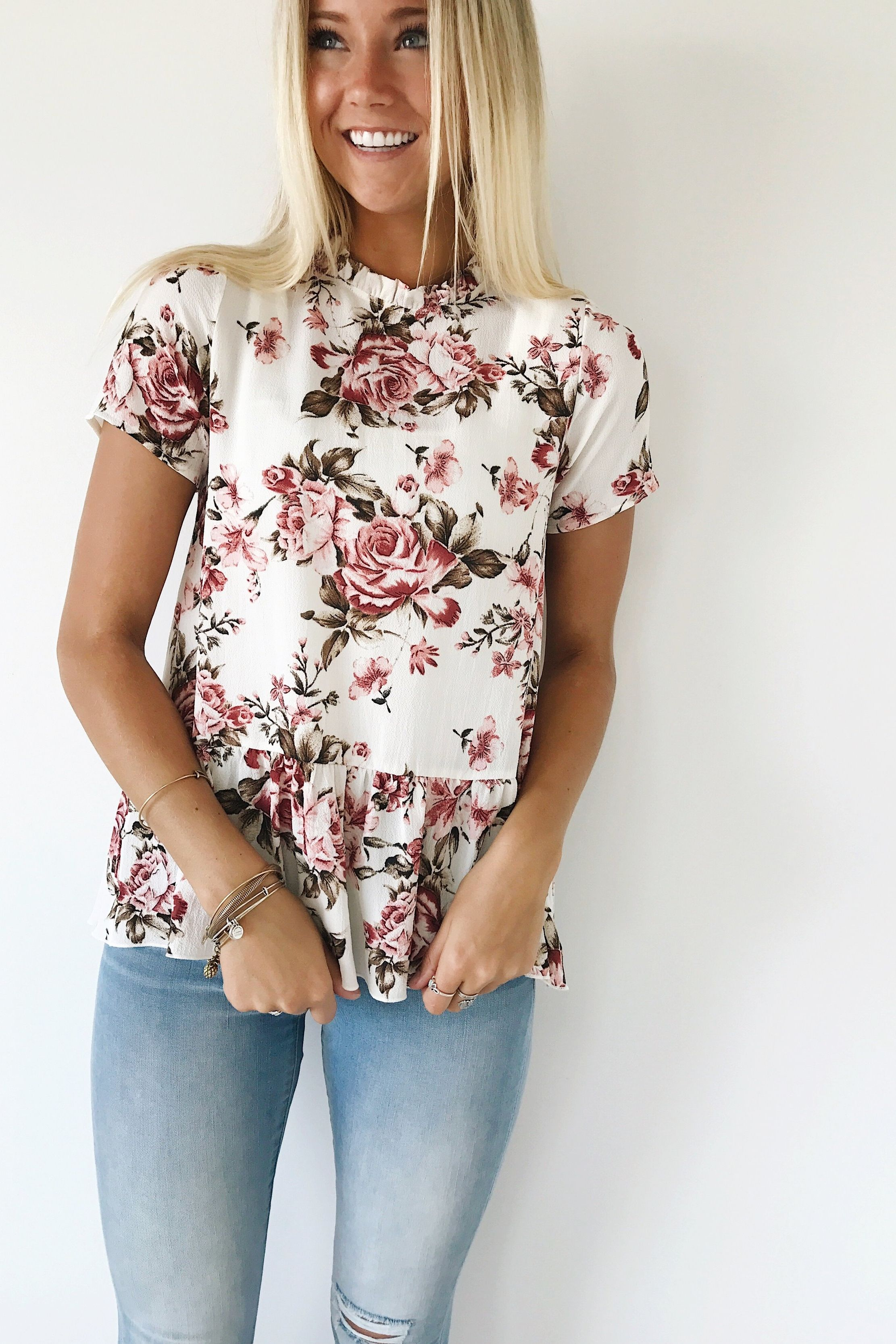 ab5d7e591799 Women Short Sleeve Floral Printed Ruffles Casual Shirt Lady flower – Shop  The Nation Summer Fashion