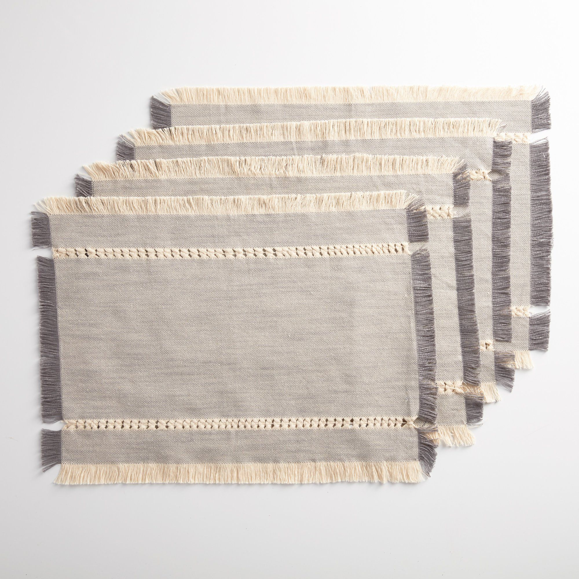 Better Homes Gardens Woven Table Placemat With Fringe Gray 4 Piece Set Walmart Com In 2021 Woven Placemats Placemats Grey Placemats
