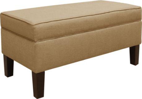 Skyline Furniture Upholstered Storage Bench in Linen Sandstone | Furniture Crate :: $270