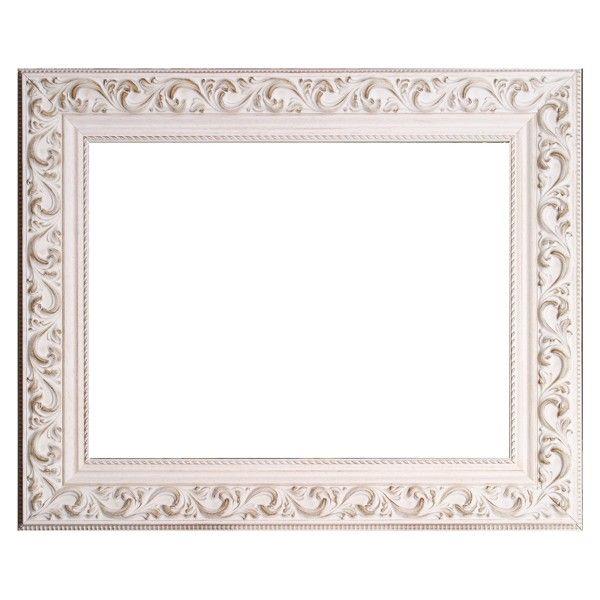 Marco con talla blanco decapado moldura de madera de 7 cm for Espejo marco madera blanco