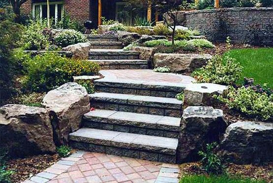 Stone Front Entrance Pathway Stairs Front Yard Design By