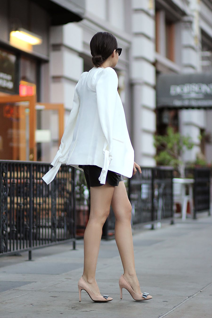 The Powerful Blazer Fake Leather Blog Night Outfits Date Night Outfit Dinner Outfits