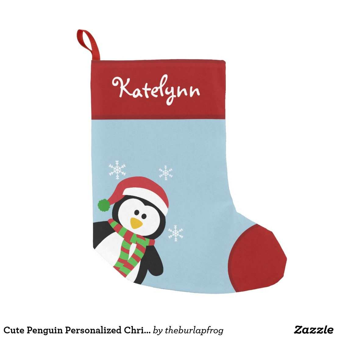 bcef914e2fe Cute Penguin Personalized Christmas Stocking Cute holiday penguin custom  Christmas stocking. Click the