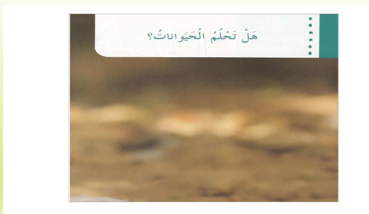 بوربوينت درس هل تحلم الحيوانات للصف الثالث مادة اللغة العربية