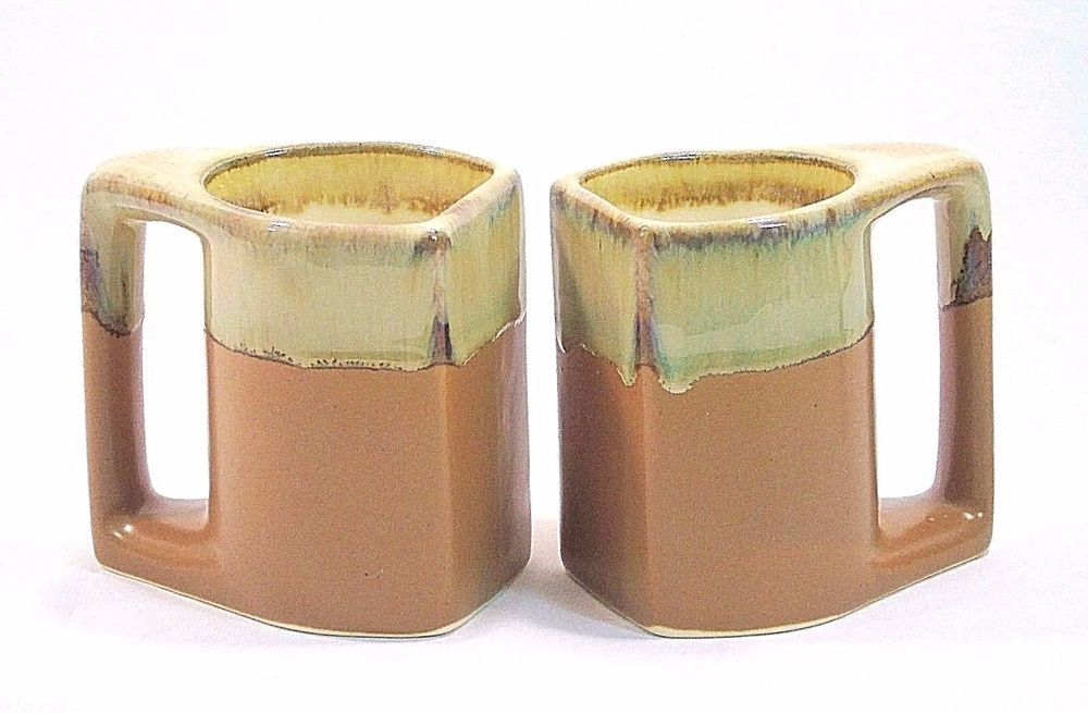 2bca6258d4a Set of 2 Rodolfo Padilla Coffee Mugs Cup Mexico Square Drip Glaze Brown Tan  #RodolfoPadillaofMexico