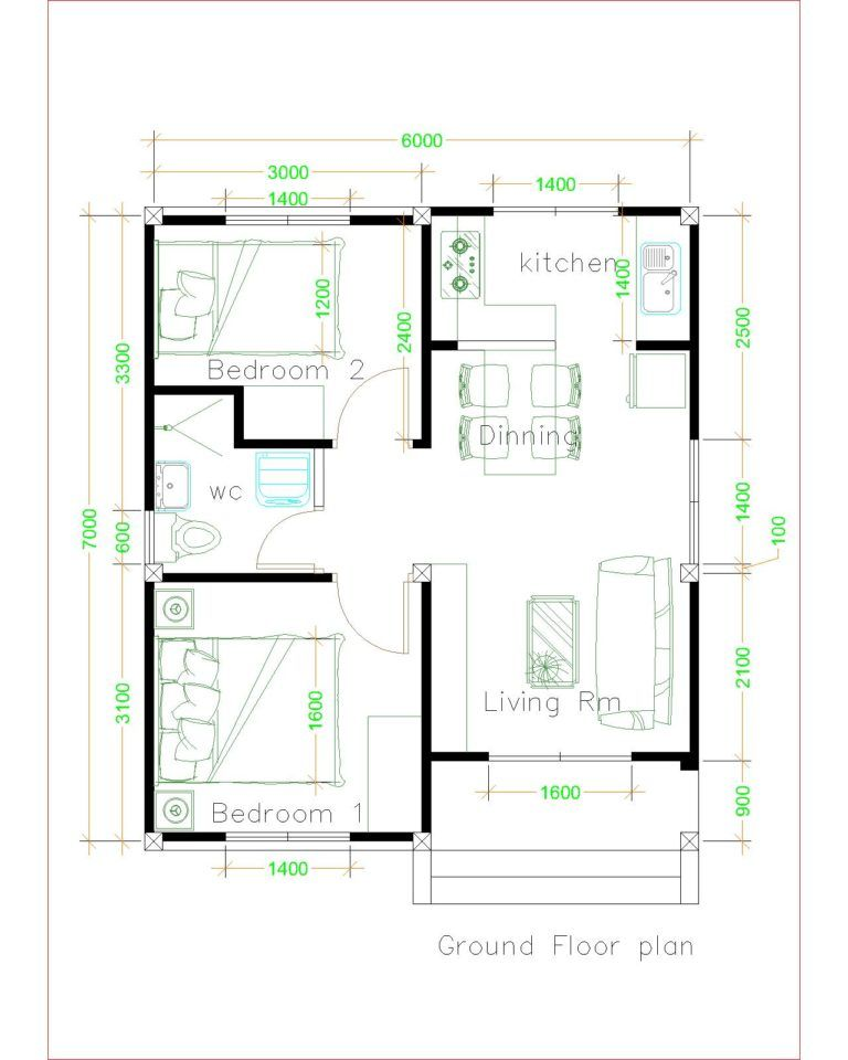 Simple House Plans 6x7 With 2 Bedrooms Shed Roof House Plans 3d In 2020 Unique House Plans Small House Plans Simple House Plans