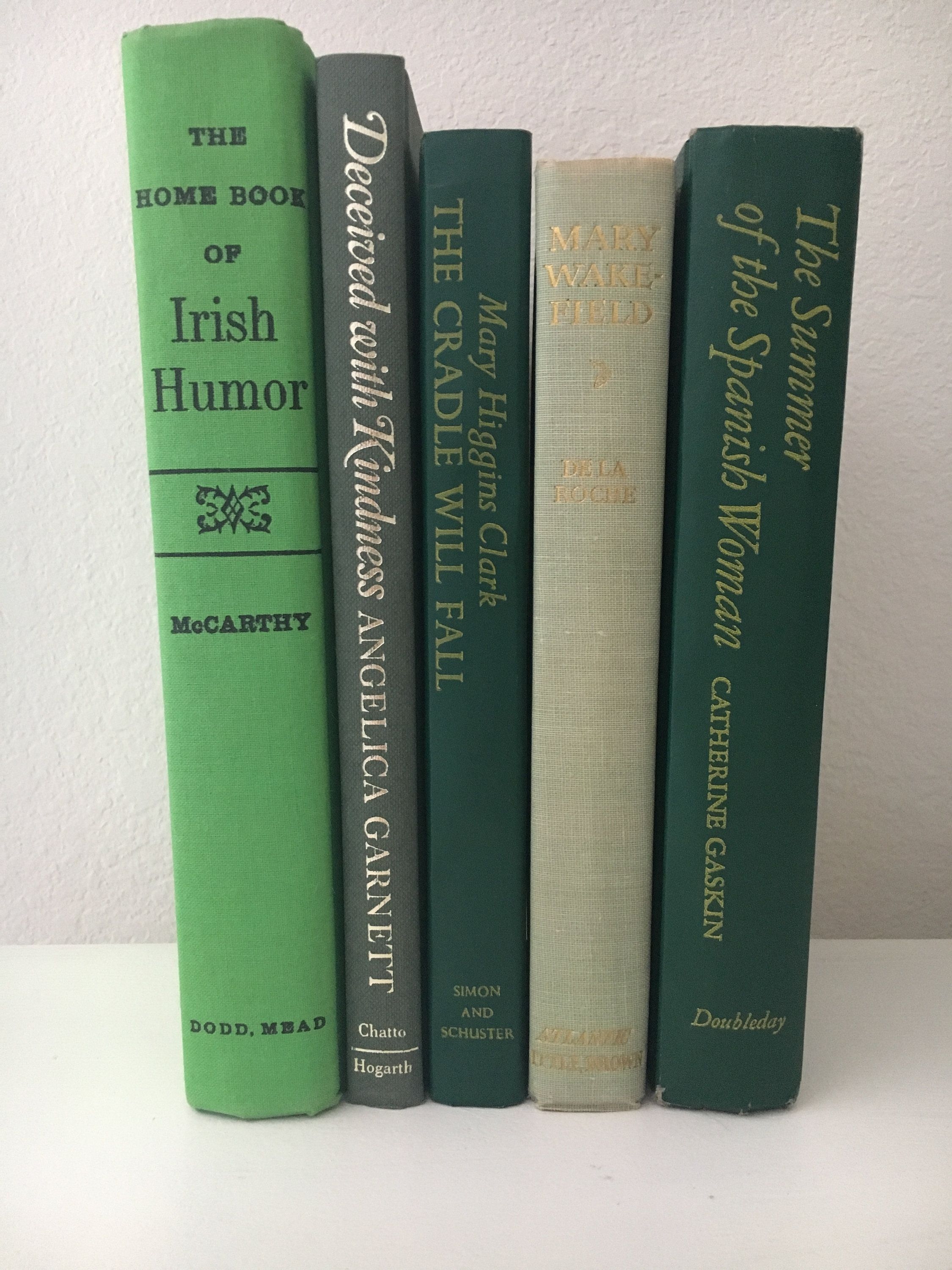 Stack Of Books Vintage Books For Shelf Decor Collectible Books Five Books Table Decor Shades Of Green Books 1949 1984 Book Decor Vintage Books Green Books