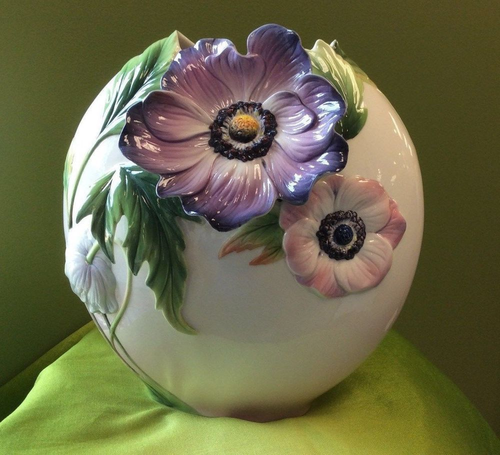 FZ02297 FRANZ PORCELAIN COLLECTION ANEMONES DESIGN SCULPTURED PORCELAIN  #Franz