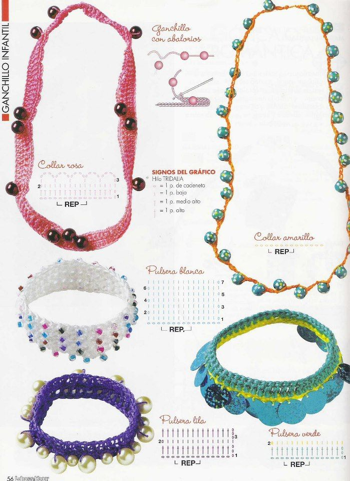 Patrón/Pattern: Collares y pulseras al crochet / Crocheted necklaces ...