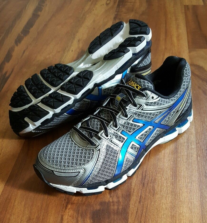 NEW Mens ASICS GEL-KAYANO 19 Silver Blue Black Running Shoes 4E SIZE 10.5