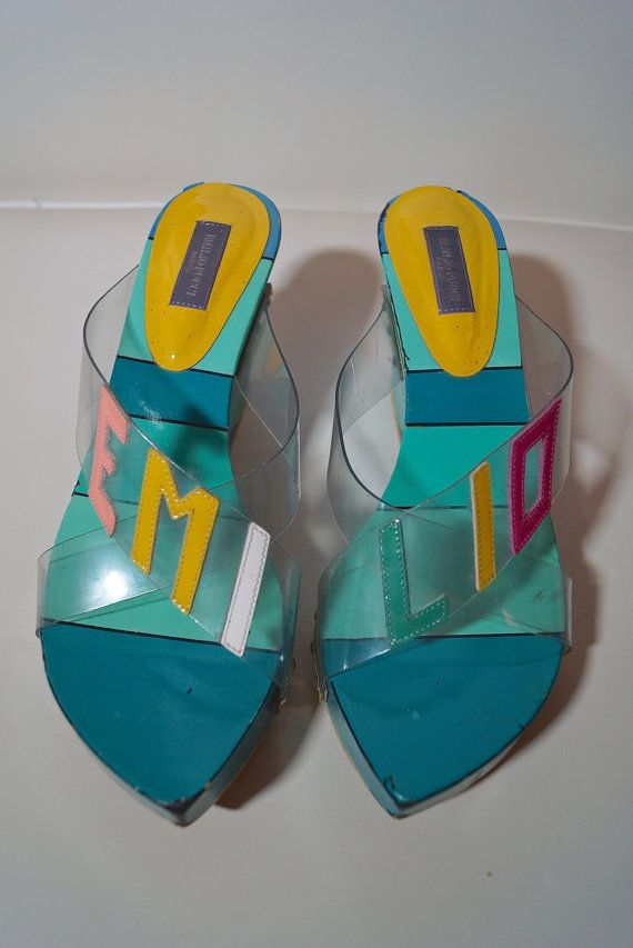 546439c09 Insanely cool vintage Emilio Pucci wedge sandals with geometric pattern  hand painted on the wooden wedge heels. Uppers are in clear plastic with ...