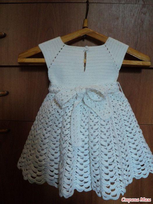 crochet vestido blanco para el pequeño ángulo - artesanías Ideas ...