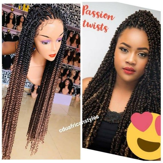 Passion Twist Braided Wig, Full Lace Braided wig, Lace Front Braids , Braid Wig,Braids for Black Woman,Spring Twist,Knotless Passion Twist
