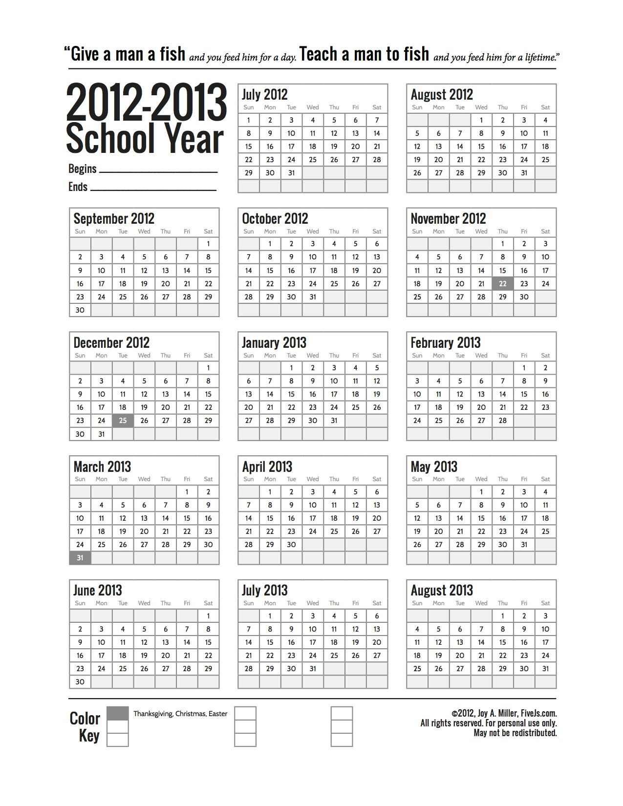 Free Printable School Calendar For 2019 2020 School