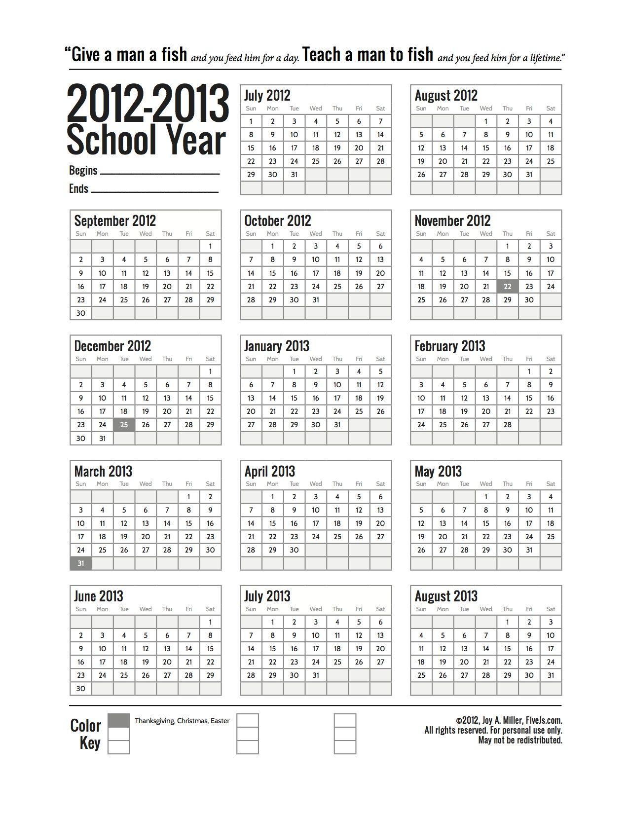 Free Printable School Calendar For