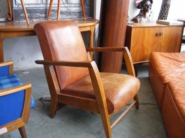 Vintage French Leather Chair With Wooden Arms Leather Armchair