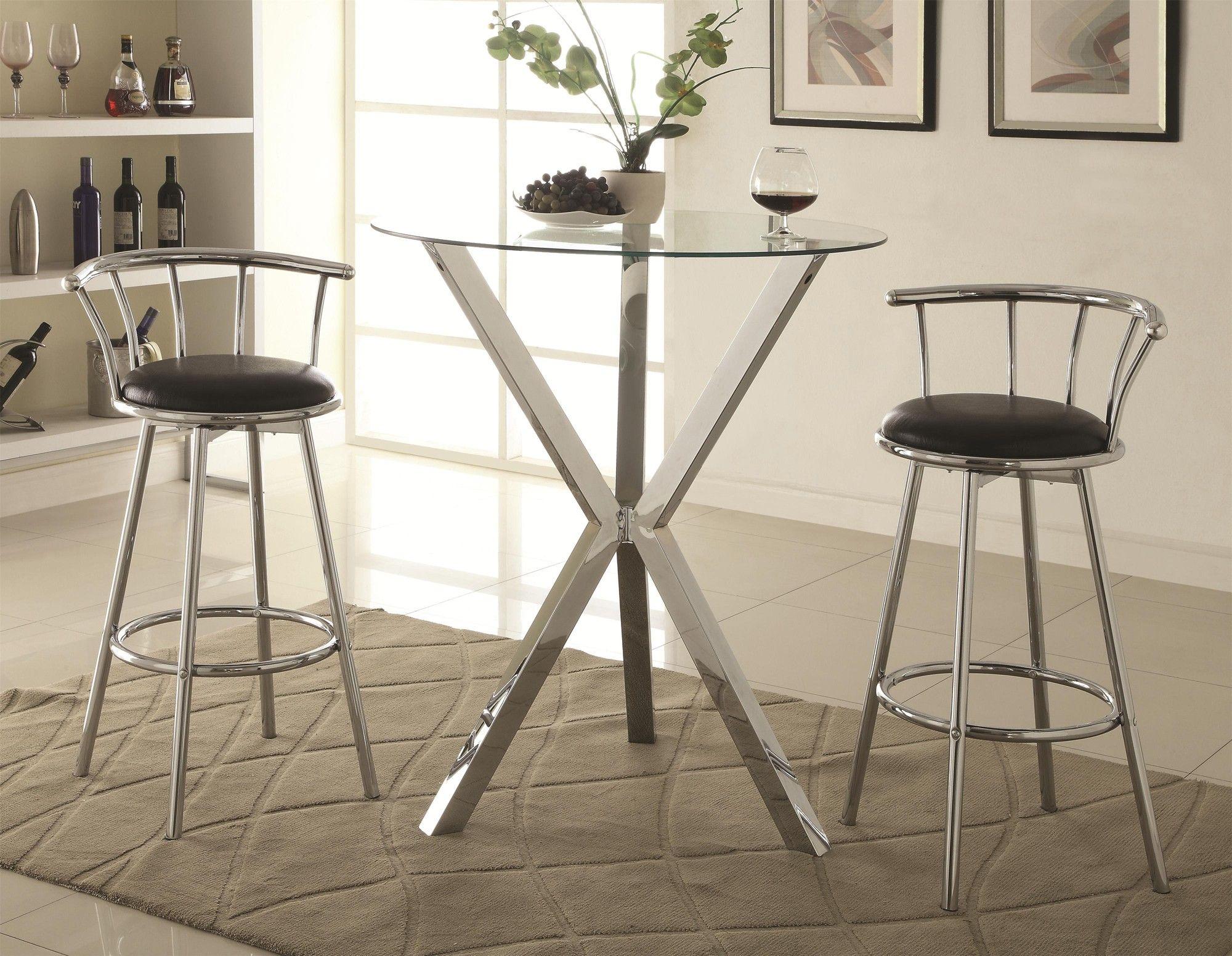 3 Piece Round Glass Top Chrome Base Table Swivel Bar Stool Set