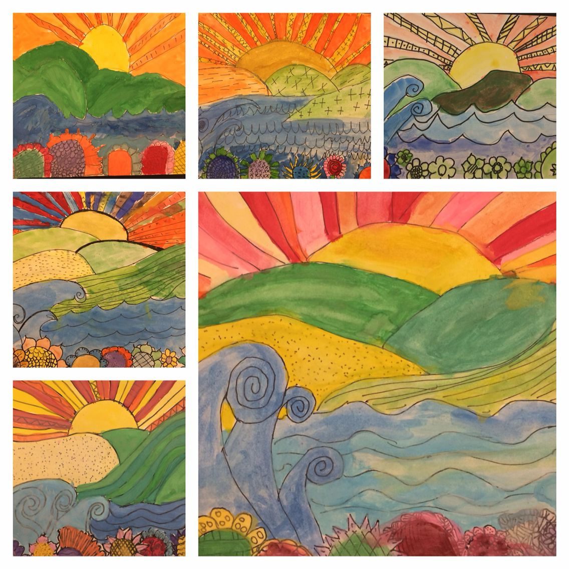 Whimsical water colour landscapes by my talented grade fives. Focus on foreground, mid-ground  and background.