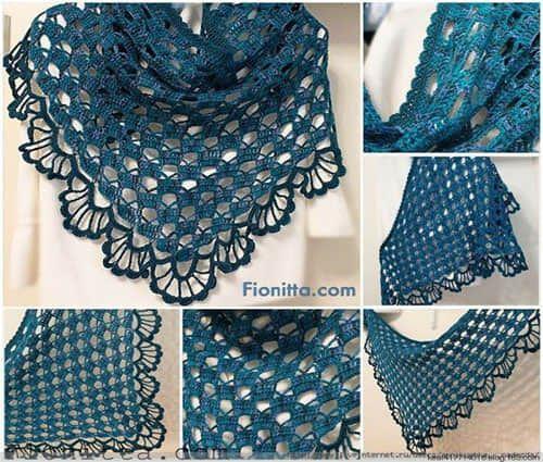 Patron para hacer un chal triangular a crochet01 | Me gusta ...