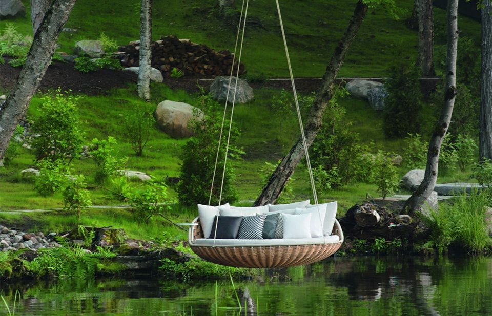 Swinging Couch Over Lake Photo Outdoor Hanging Bed Water Hammock Outdoor