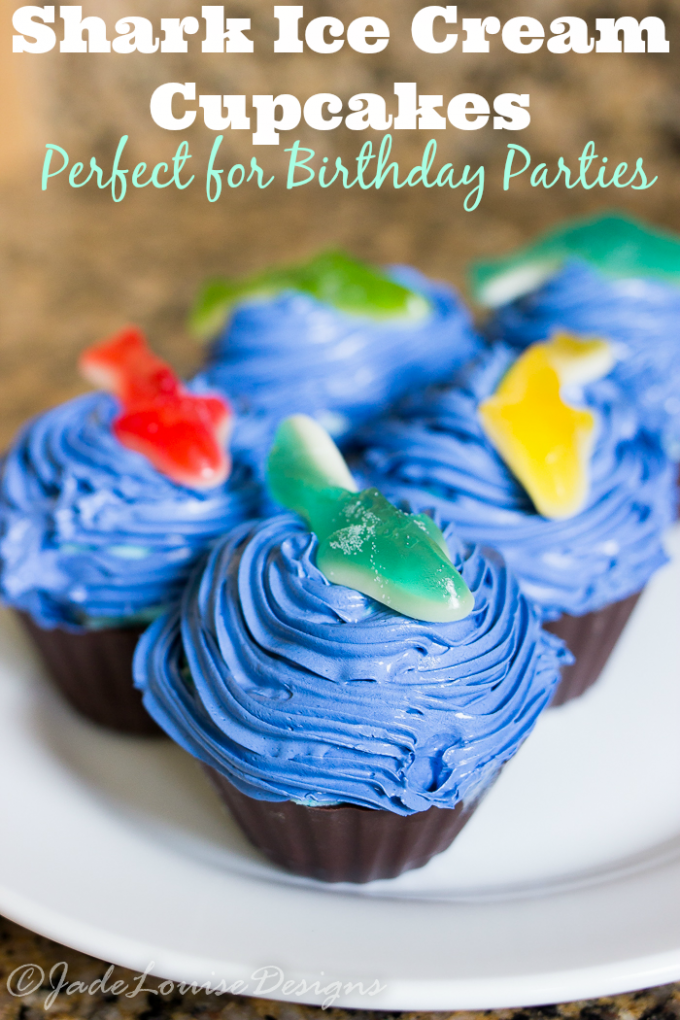 Easy Ice Cream cupcakes, perfect dessert for Birthday Parties, play dates, or just because! Celebrate Shark week too!