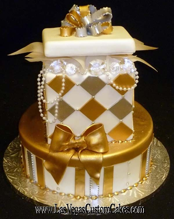 Birthday Cakes Images Gourmet Cube Round Gold White Glamorous Cake With Ribbon And Crystal Ornament Silver Glitzy Box By Las Vegas Custom Design