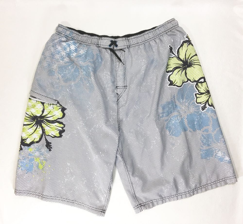 c94a1f5f006fd Mens Swim Trunks Pants Size XL / Striped Mesh Inner Cargo Pocket Shorts # Burnside #Shorts