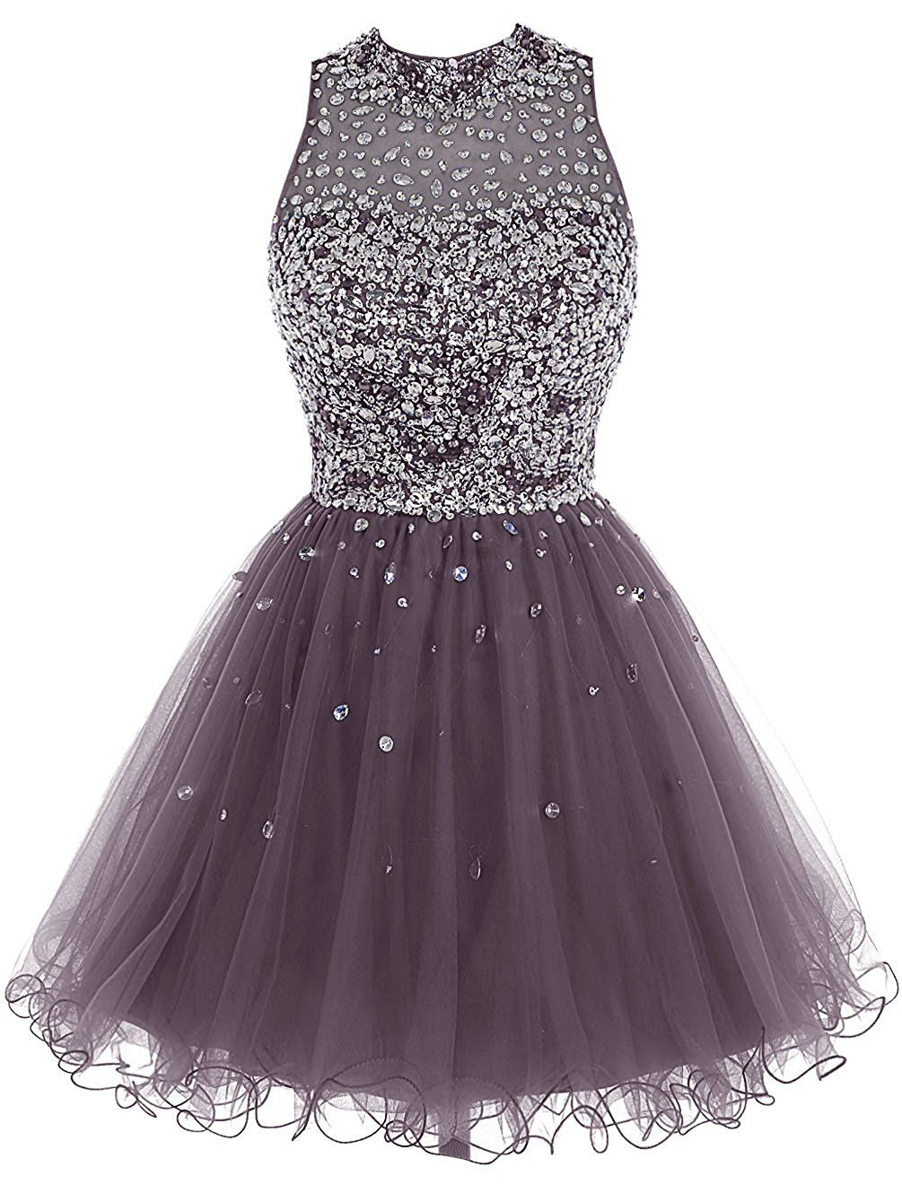 079fe2523478 Short Tulle Beading Homecoming Dress Prom Gown, Rhinestones Beaded ...