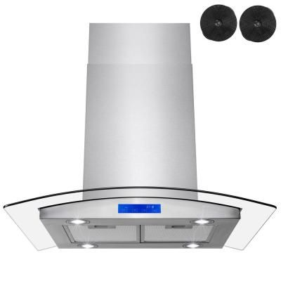 Golden Vantage 30 in. 343 CFM Convertible Island Mount Range Hood in Stainless Steel with LEDs, Touch Panel and Carobon Filters, Silver #touchpanel