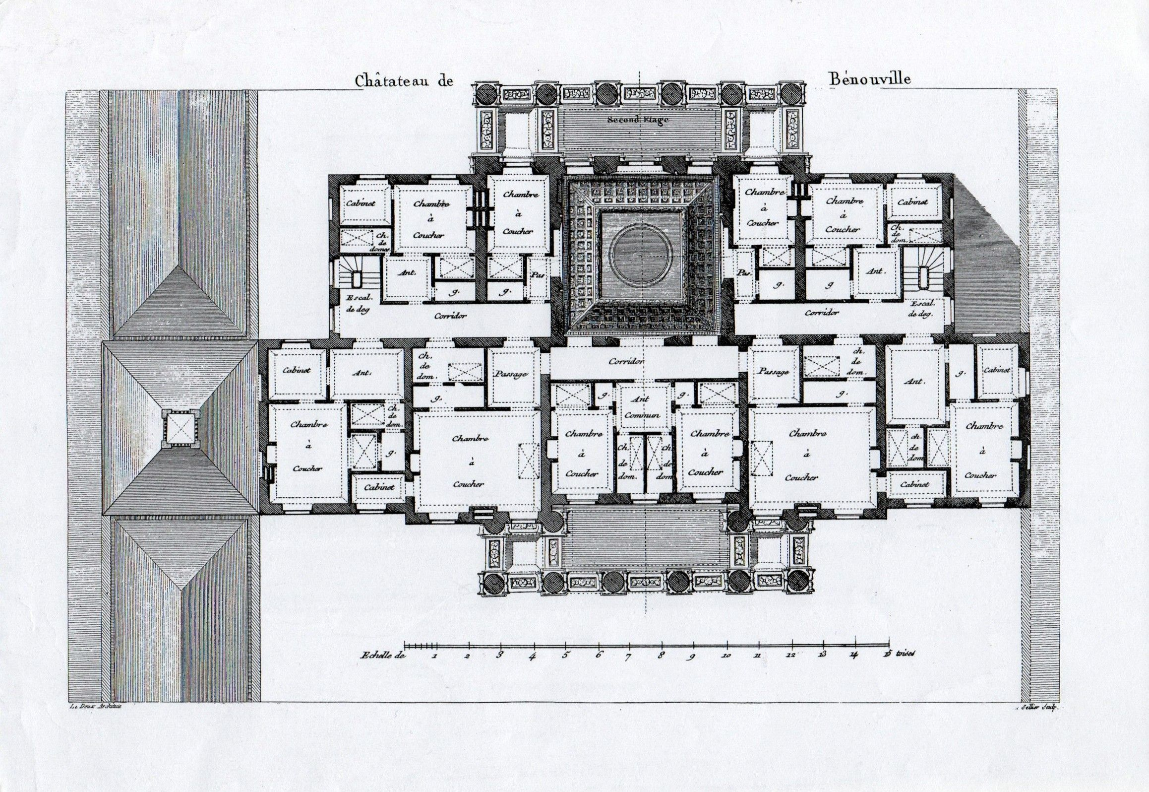 Chateau De Benouville Second Floor Plan Architectural