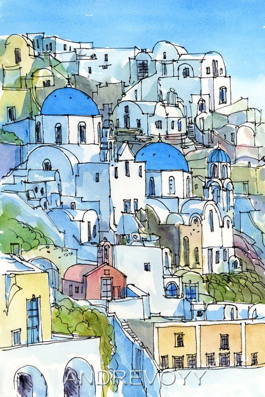 santorini oia 2 greece art print from an original by andrevoyy city scapes pinterest. Black Bedroom Furniture Sets. Home Design Ideas