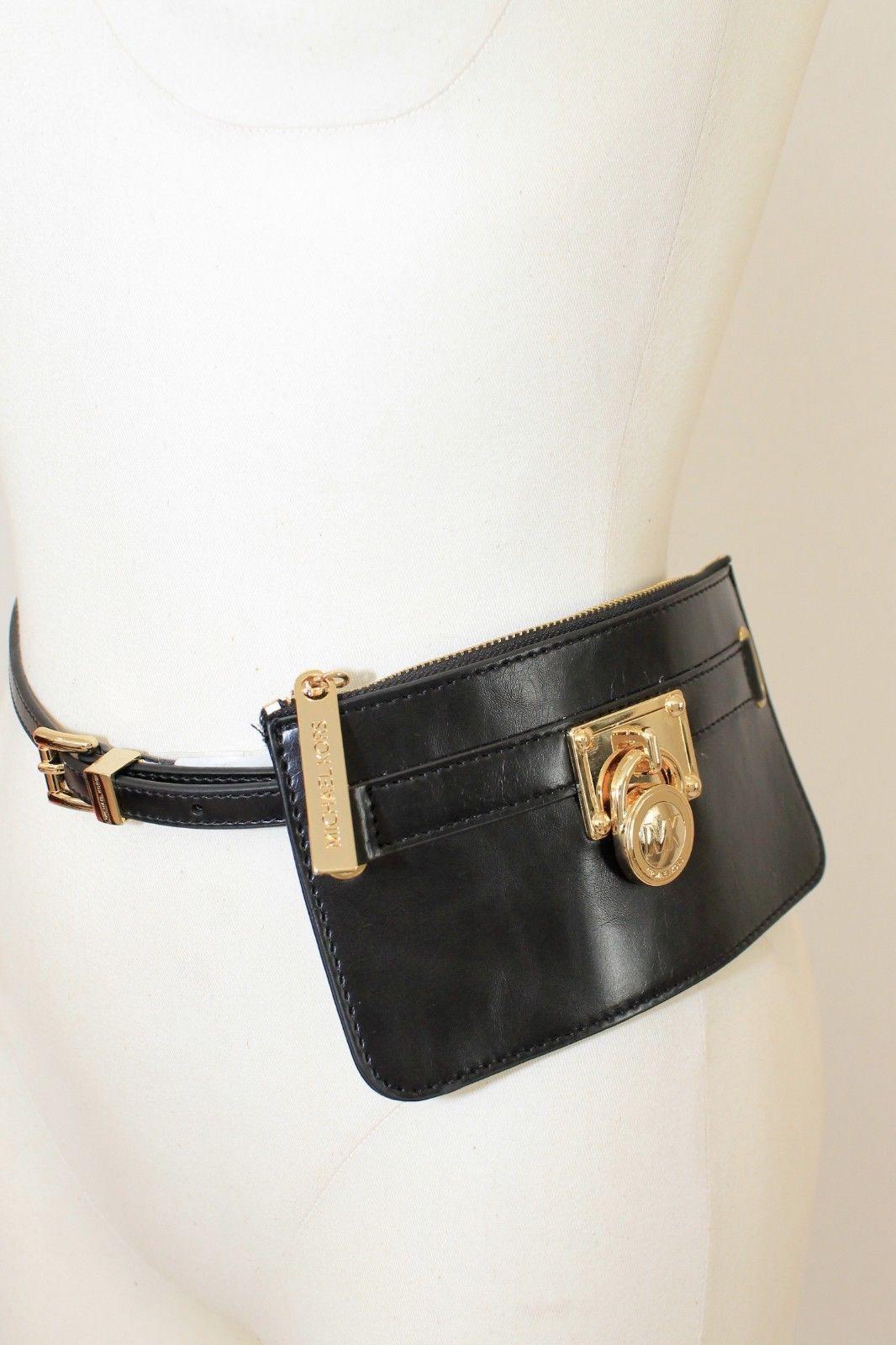f7ce987ce5ae Michael Kors Ladies Leather Belt Bag Black Gold Designer Fanny Pack Sz M