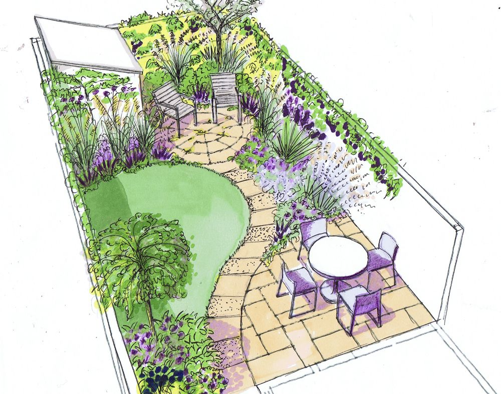 Design for a small back town garden on a low budget for Small narrow garden designs