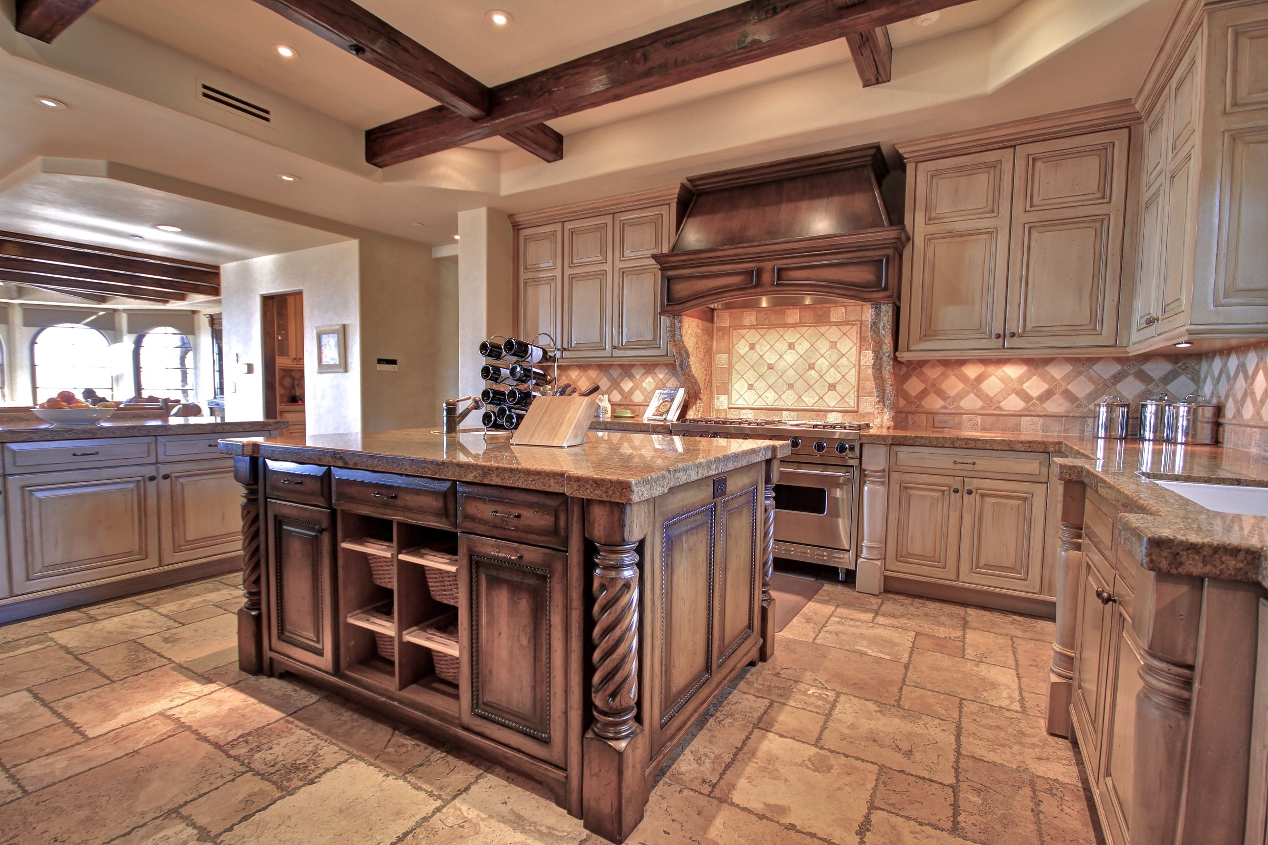 Stunning Rustic Gourmet Kitchen With White Distressed Cabinetry Finished Also Traditional K Distressed Kitchen Distressed Kitchen Cabinets White Kitchen Rustic