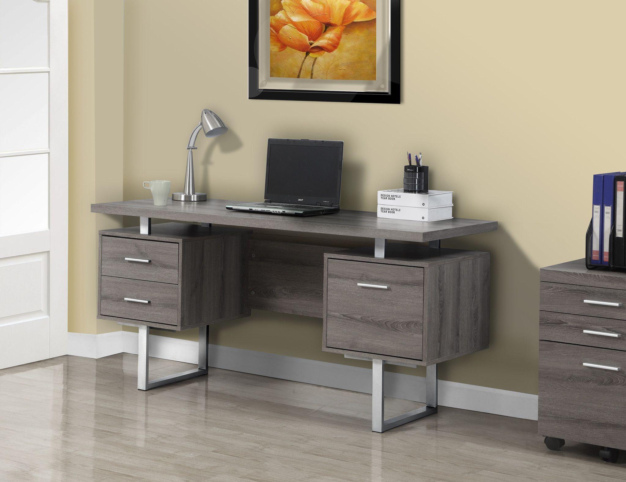 Computer Desk 60 Quot L Dark Taupe Silver Metal Desk
