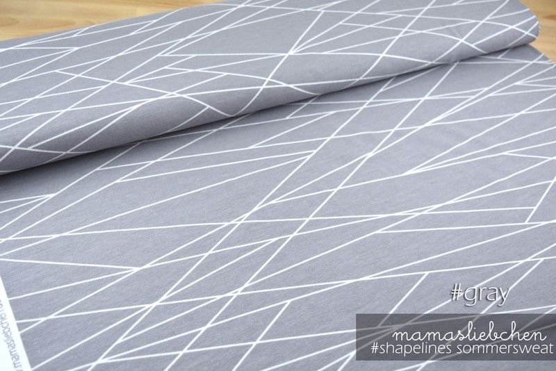 Stoff Grafische Muster Sommer Sweat Stoff Shapelines Gray Grau 0 5m Ein Designerstuck Von Mamasliebchen Naeht Bei Da Mamasliebchen Stoffe Grafische Muster