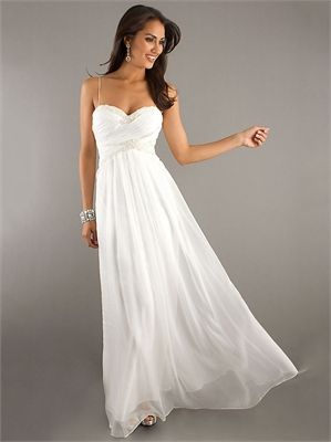Spaghetti Straps Sweetheart Beading Floor Length White Prom Dress PD1902  (comes In Pink)