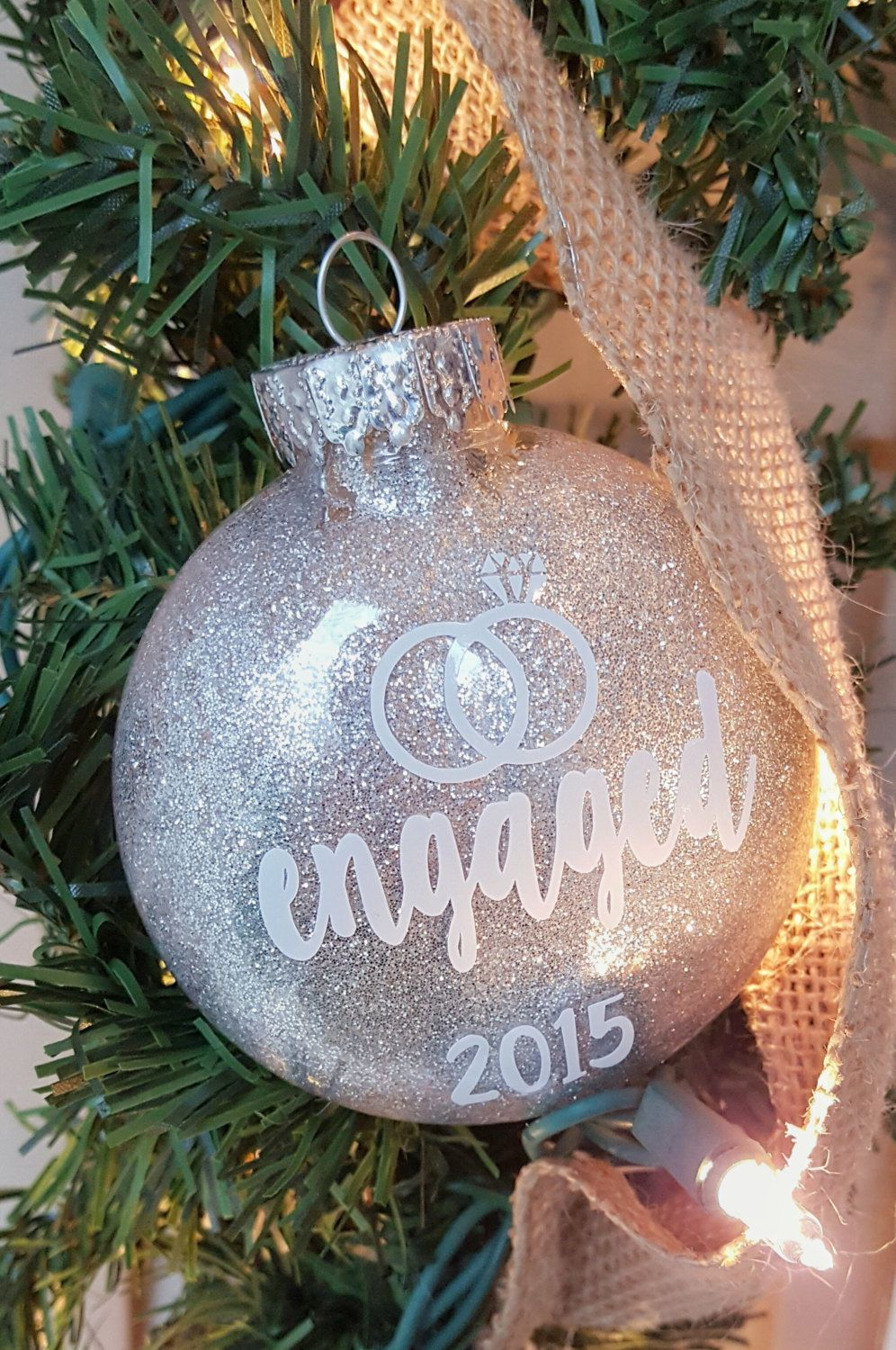Engaged christmas ornamentglitter ornamentchristmas ornament
